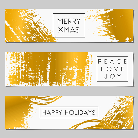 A set of Christmas banners in white and gold. Abstract brush strokes in gold on white background and holiday messages.