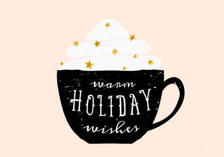 black coffee: Christmas greeting card template design. A black coffee cup with typographic design and whipped cream with golden sprinkles.