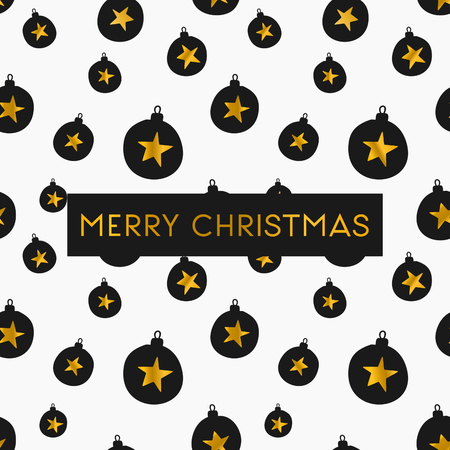 golden star: Merry Christmas greeting card template. Seamless pattern with Christmas baubles in gold and black on white background.