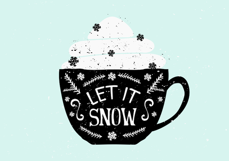 Christmas greeting card template design. A black coffee cup with typographic design and whipped cream with snowflake shaped sprinkles. Illustration