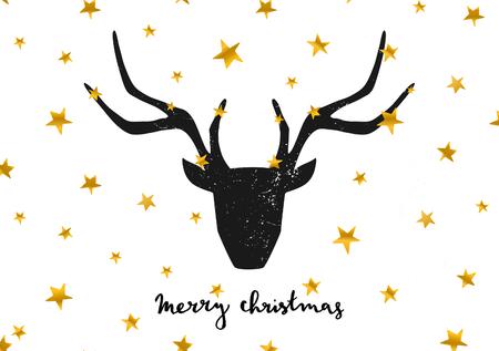 """Merry Christmas wenskaart sjabloon. Een zwarte herten hoofd op gouden sterren achtergrond. Hand letters """"Merry Christmas"""" tekst. Stock Illustratie"""