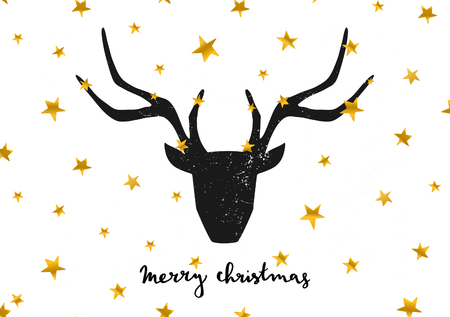 Merry Christmas greeting card template. A black deer head on gold stars background. Hand lettered Merry Christmas text.