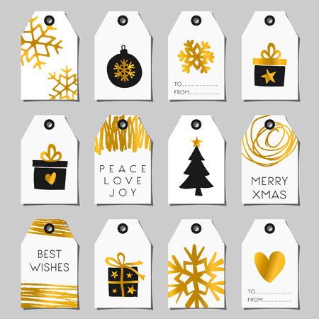 A set of Christmas gift tags in black, white and gold. Traditional Christmas elements and modern abstract designs.