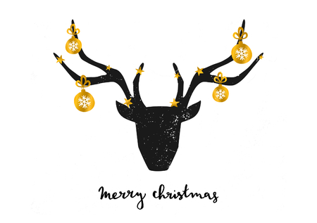Merry Christmas greeting card template. A black deer head decorated with gold Christmas baubles on white background. Hand lettered Merry Christmas text.