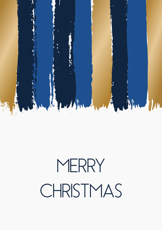gold christmas background: Hand drawn brush strokes Christmas greeting card template design. Vertical paint stripes in blue and gold on white background.