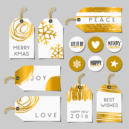 A set of Christmas gift tags and stickers in black, white and gold. Traditional Christmas elements, abstract brush strokes and doodles and modern typographic designs. Illustration