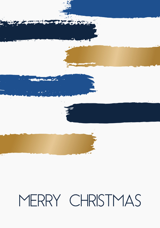 blue stripes: Hand drawn brush strokes Christmas greeting card template design. Horizontal paint stripes in blue and gold on white background.