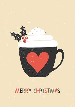 Merry Christmas greeting card template. A cup of warm beverage decorated with whipped cream and holly. Illustration
