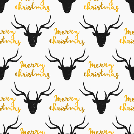 Seamless Christmas pattern with stylized reindeer heads in black with gold hand lettered Merry Christmas message on white background.