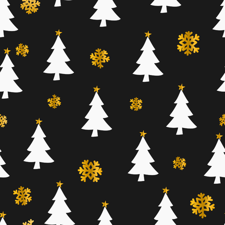Seamless Christmas pattern with snowflakes and Christmas trees in gold and white on black background.