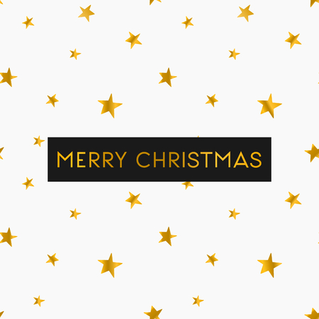 christmas gold: Merry Christmas greeting card template. Seamless pattern with gold stars on white background. Illustration