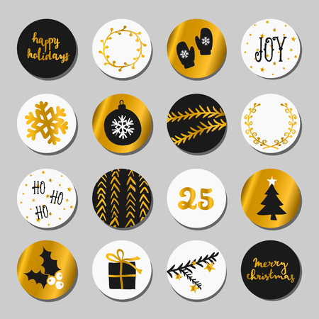 A set of Christmas round stickers/gift tags/cake toppers. Traditional Christmas design elements in black, white and gold.