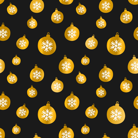 christmas gold: Retro style seamless Christmas pattern with snowflake decorated baubles in black and gold.