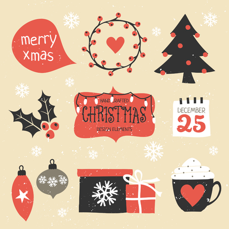 black art: A set of traditional Christmas design elements in vintage red, black and white. Illustration