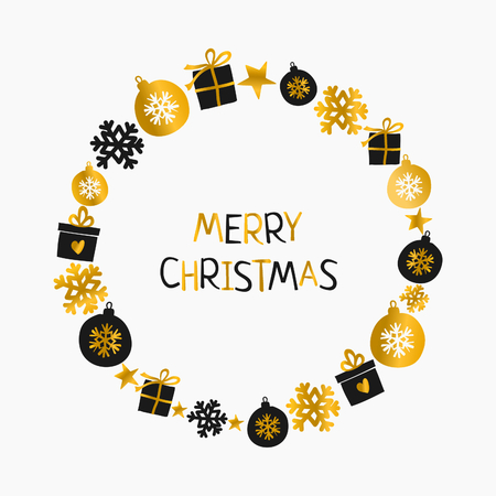 Christmas greeting card design with Christmas wreath made of baubles, gift boxes and snowflakes. Gold, white and black printable Christmas card template. Illustration