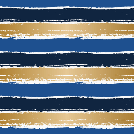 dry brush: Hand drawn abstract seamless pattern. Horizontal dry brush strokes texture in blue and gold on white background. Illustration