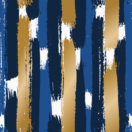 Hand drawn abstract seamless pattern. Vertical dry brush strokes texture in blue and gold on white background. Illustration