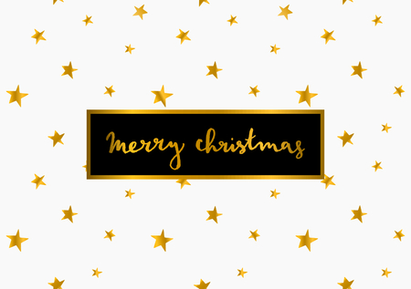 Merry Christmas greeting card template. Hand lettered message on white background with gold stars.