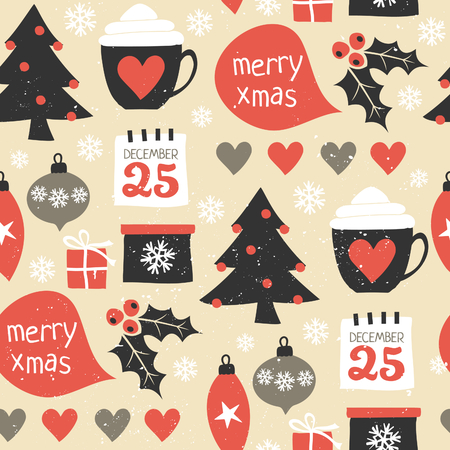 Seamless repeat pattern with traditional Christmas symbols in red, black and white. Christmas wrapping paper printable design. Illustration