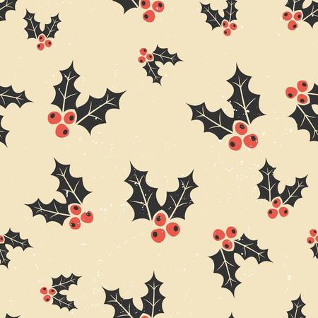 houx: motif de r�p�tition transparente avec No�l traditionnel houx en rouge, noir et blanc. No�l papier d'emballage conception imprimable.