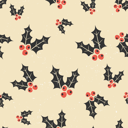 holly berry: Seamless repeat pattern with traditional Christmas holly in red, black and white. Christmas wrapping paper printable design.