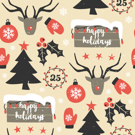 dec  25: Seamless repeat pattern with traditional Christmas symbols in red, black and white. Christmas wrapping paper printable design. Illustration