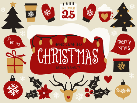 vector set: A set of traditional Christmas design elements in red, black, white and gold.