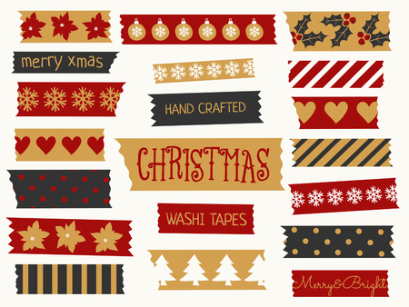 tapes: A set of Christmas washi tape strips in red, black and gold. Decorative strips with traditional Christmas elements: baubles, trees, snowflakes, etc.