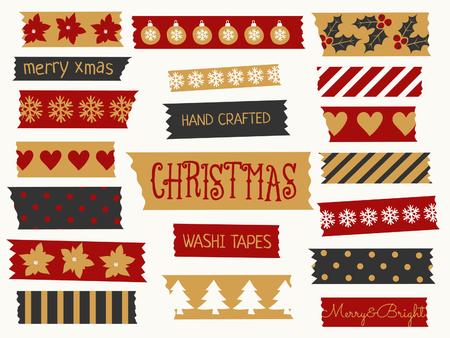 cintas: Un conjunto de tiras de cinta washi Navidad en rojo, negro y oro. tiras decorativas con los elementos tradicionales de Navidad: adornos, árboles, copos de nieve, etc.