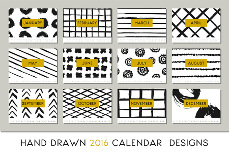 blanco: 2016 calendario plantilla de diseño, cada tarjeta es escalable a tamaño A4, imprimible. Abstracta del cepillo acaricia negro sobre fondo blanco y detalles en oro.