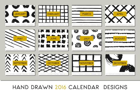 schwarz: 2016 Kalender-Design-Vorlage, ist jede Karte zum Format DIN A4, bedruckbar skalierbar. Abstrakte Pinselstriche schwarz auf weißem Hintergrund und Details in Gold.