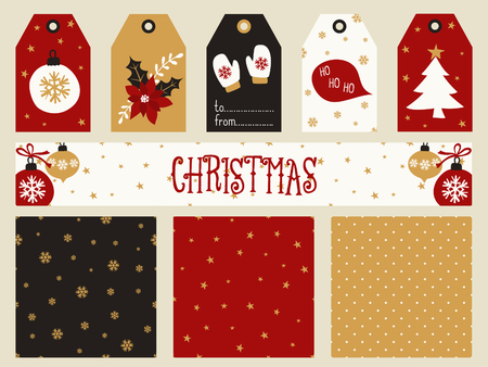 christmas gold: A set of Christmas printables - gift tags, seamless patterns and a banner header in red, white, black and gold. Perfect for greeting cards, scrapbooking, party invitations, etc.