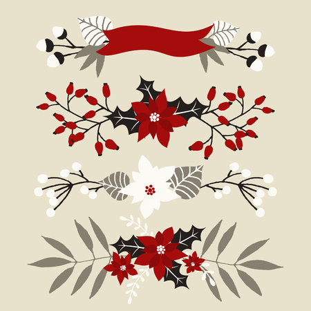 floral arrangements: A set of Christmas floral arrangements in white, red, gray and black. Illustration