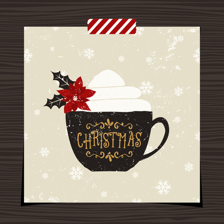 Christmas greeting card template design on wood background. A black coffee cup with typographic design and whipped cream decorated with poinsettia on snowflake pattern background.