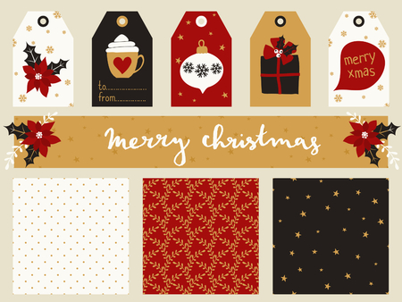 printables: A set of Christmas printables - gift tags, seamless patterns and a banner header in red, white, black and gold. Perfect for greeting cards, scrapbooking, party invitations, etc.