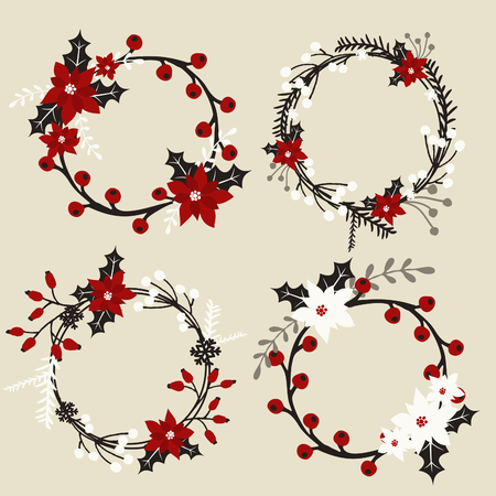 christmas wreaths: A set of Christmas wreaths with poinsettia, holly, berries, branches and leaves in white, red, gray and black.