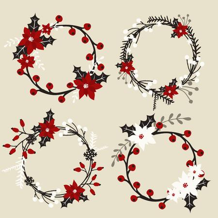 coronas de navidad: Un conjunto de guirnaldas de Navidad con poinsettia, acebo, bayas, ramas y hojas en blanco, rojo, gris y negro.