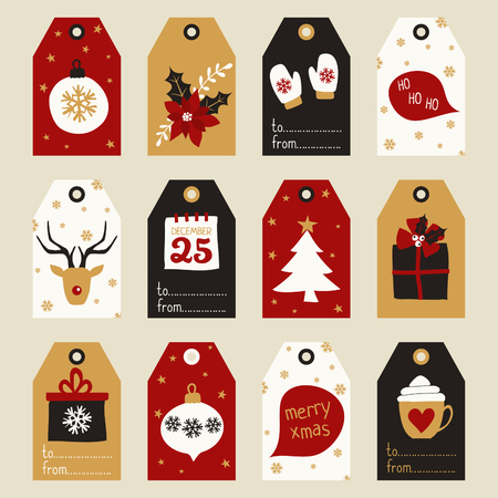 A set of gift tags with traditional Christmas elements - baubles, presents, poinsettia, etc. in red, white, black and gold.