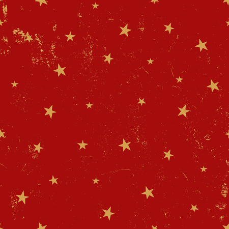 Vintage seamless pattern with stars in red and gold. Tiling festive background, greeting card or wrapping paper.