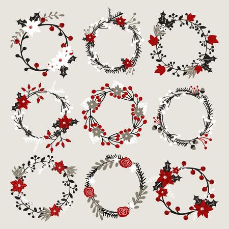 coronas navidenas: Un conjunto de guirnaldas de Navidad con poinsettia, acebo, bayas, ramas y hojas en blanco, rojo, gris y negro.
