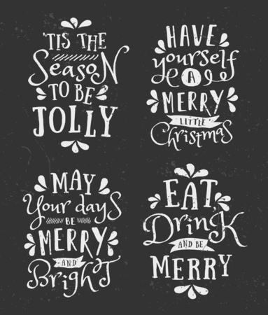 phrases: A set of chalkboard style Christmas typographic designs. Traditional Christmas messages, phrases and quote templates. Illustration