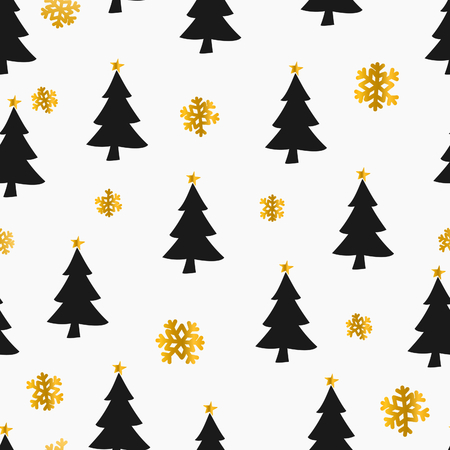 gold christmas background: Seamless Christmas pattern with snowflakes and Christmas trees in gold and black on white background.