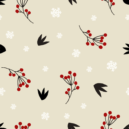 red berries: Winter floral seamless pattern with red berries, snowflakes, branches and leaves in beige, red, black and white.