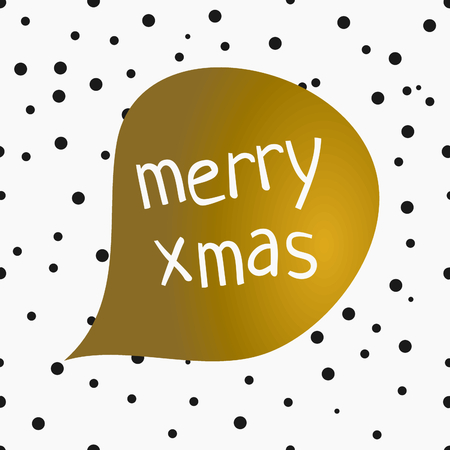 Speech: Christmas greeting card design with speech bubble and text Merry Xmas on a background with confetti. Gold, white and black printable Christmas card template.