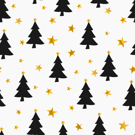 Seamless Christmas pattern with stars and Christmas trees in gold and black on white background. Illustration