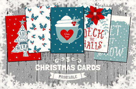halls: A set of five printable Christmas greeting cards in red, white and blue. Gray wood planks background, snowflakes frame, traditional Christmas symbols and elements.