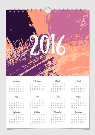scalable: 2016 calendar design template, scalable to A4 size, printable. Hand drawn abstract brush strokes composition in orange and purple.