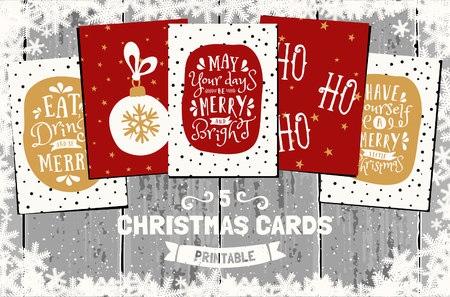 carol: A set of five printable Christmas greeting cards in red, white and golden yellow. Gray wood planks background, snowflakes frame, traditional Christmas symbols and elements.