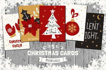 red and white: A set of five printable Christmas greeting cards in red, white, golden yellow and black. Gray wood planks background, snowflakes frame, traditional Christmas symbols and elements. Illustration