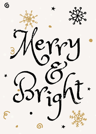 bright: Typographic style Christmas greeting card template with hand drawn snowflakes and text Merry & Bright.
